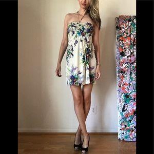 Jill Stuart Watercolor Floral Silk Dress